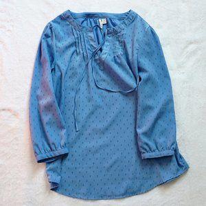 Textured Light Blue Long Sleeve Top